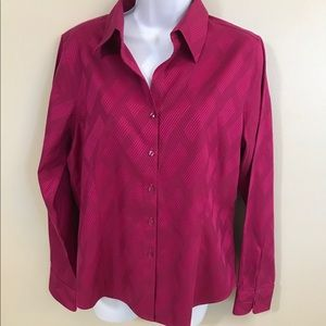Foxcroft Fuchsia Non-Iron Fitted Button Up Top 10